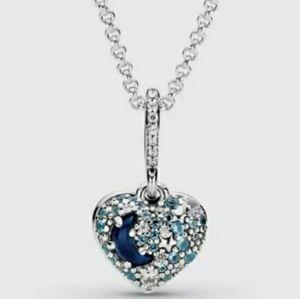 Pandora sparkling moon and stars heart pendant.